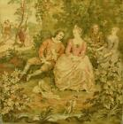 Beautiful Vintage French Tapestry Wall Hanging, Romantic Chateau Jardin Scene