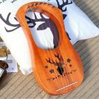 New Portable Size Mahogany Wood 7 Strings Lyre Harp Musical Stringed Instruments