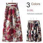 Boho Floral A-Line Flare Maxi Ankle Pleated Skirt Elastic High Waist w/ Pockets