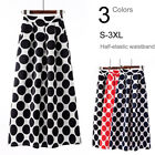 Polka Dots A-Line Flare Maxi Ankle Pleated Skirt Elastic High Waist w/ Pockets