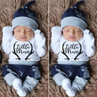 UK Christmas Newborn Baby Boy Clothes Little Man Romper+Deer Leggings+Hat Outfit