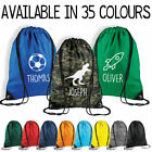 Personalised Name Drawstring Bag Kids Boys PE Gym Kit School P.E Sports Bag CN8
