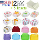 5 Pcs+5 Insets Cloth Diapers Lot Nappies Adjustable Reusable For Baby US Stock