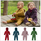 Baby Thermal Coverall Romper Snowsuit, 100% Organic Wool Fleece, 0-24 Months