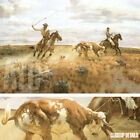 """46W""""x35H"""" CAUGHT IN THE OPEN by J.N. SWANSON - HORSES CATTLE - CHOICES of CANVAS"""