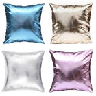Faux Leather Throw Pillow Case Cover Shiny Bright Sofa Bed Cushion Decor 18 Inch image