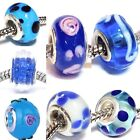 BLUE Murano Glass Bead for Silver European Chain Charm Bracelet Lampwork