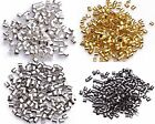 1000pcs Wholesale Silver/Gold/Black/Bronze Plated Tube Crimp End Beads 2mm US