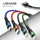 USAMS 4 in 1 Micro USB /Type C /IOS Fast Charging Charger Data Sync Cable Cord