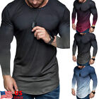 Mens Gradient Casual Gym Muscle Long Sleeve T shirt Fitness Workout Sport Tops