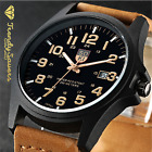 Men's Military Leather Date Quartz Analog Army Casual Dress Wrist Watches image