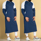 US Men Dubai Clothes Muslim Thobe Abaya Robe Dishdasha Islamic Kaftan Maxi Dress