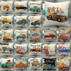 "18x18"" Fall Harvest Pumpkin Car Throw Pillow Case Truck Cushion Cover Sofa Decor image"