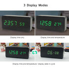 Desktop Clock LED Wooden Alarm Clock USB 3 Brightness Time/Temperature Blue C6Y2