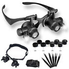 Loupe Led Magnifier Glasses Watch Repair Jeweler Microscope Tool Kit Tweezer Set