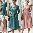 Women's Vintage Button Down Pockets Puffy Swing Long Sleeve Casual Party Dress