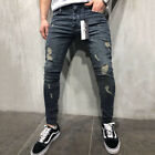 Mens Ripped Denim Jeans Distress Frayed Stretchy Skinny Slim Fit Pants Trousers
