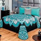 Paisley Turquoise & Black Mantra Ultra Comforter Set in Seamless Quilted Design image