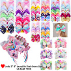"JOJO 5"" Large Girl Hair Bow band Clips Birthday Unicorn Party wings Dance Kids"