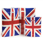 100 HIGH QUALITY PLASTIC PUNCH HANDLE UNION JACK CARRIER BAGS - 3 sizes