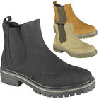 Womens Chelsea Boots Ladies Ankle Brogue Slip On Fashion Gusset Work Shoes Size