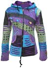 Womens Purple Psychedelic Stone Washed Ripped Embroidery Patchwork Hoodie Hippy <br/> Sweater Boho Festival Cardigan Patchwork Pixie Hood