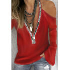 Women Sexy Cold Shoulder T-Shirt Ladies Blink Long Flare Sleeve Loose Blouse Top