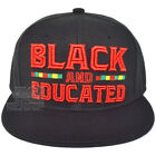 Black and Educated Embroidery Snapback Hat Adjustable Black Pride Cap New