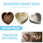 Tiny Wooden Heart Shaped Cot Photography Photo Studio Prop Newborn Bed Box Gift