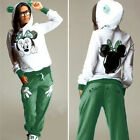 2Pcs Womens Mickey Hoodie Tracksuit Sweatshirt Tops Pants Set Casual Sweat Suits