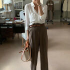 Women`s Wide Pants Pin Tuck Trousers Mocha Korean Fashion