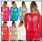 Womens Long Jumper Ladies Pullover Angel Wings Jumper Dress One Size 6-12 UK