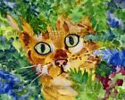 Country Golden Green Eyed Tabby Kitty Cat in the Blue Red Bush