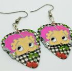 Betty Boop with Pink Hair Charm Guitar Pick Earrings - Pick Your Color $5.5 USD on eBay