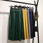 Women Long High-waist Pleated PU Leather Elastic Skirts Skater Casual Maxi Skirt