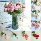 Artificial Bouquet Peony 3 Heads Silk Flower Fake Leaf Home Wedding Party Decor