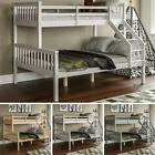 Triple Sleeper Bunk Bed Solid Pine Wooden Frame Ladder Single Double 3FT 4FT6