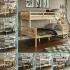 Bunk Bed Triple Sleeper Loft Cabin Bed Solid Wood Frame Kids Ladder Desk Pine