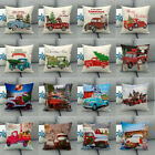 Christmas Pillow Cover Vintage Red Truck Linen Home Decorative Tree Cushion Case