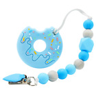 Doughnut Baby Teether Silicone Soother Chewable Teething Toy W/ Pacifier Clip 🍩