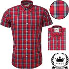 Relco Mens Red Check Short Sleeve Shirt Button Down Collar Mod Tartan Retro NEW