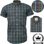 Relco Mens Green Check Short Sleeve Shirt Button Down Collar Mod Skin Tartan NEW