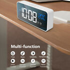 LED Mirror Display Digital Alarm Clock Snooze Sound-activated Backlit Clock