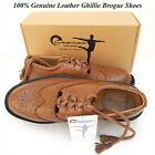 Scottish Kilt Ghillie Brown Brogue Shoes 100% Genuine Leather Shoes Sizes 6-13
