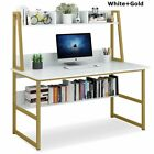 Home Office 47/55'' Large Computer Desk with Hutch Bookshelf Laptop Study Table
