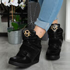 Womens Ankle Boots Ladies Hidden Wedge Trainers Lace Up Heel Sneakers Shoes Size