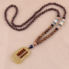 Ethnic Style Vintage Wooden Bead Pendant Long Necklace Tibetan Sweater Necklace