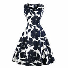 Large Size Women's Sleeveless Printed Vintage Holiday Flowers Retro Summer Dress