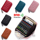 Women Wallet Mini RFID-Blocking ID/Credit Card Holder Leather Zipper Coin Purse image