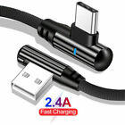 90 Degree Right Angle USB Type C LED Fast Charging Charger Cable For Samsung S10